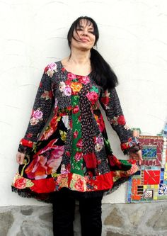 M-L Roses garden patchwork dress recycled up cycled by jamfashion