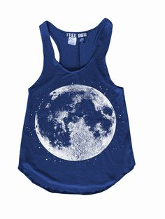 Boho Graphic FULL MOON Free Bird Gypsy Racerback Tank Top