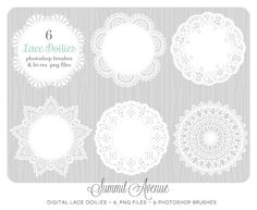 Digital Lace Doilies - Paper Doily style - photography or personal use - clip art & Photoshop brushes. $6.00, via Etsy.