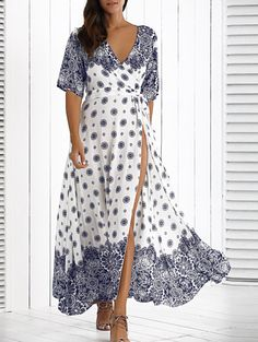 Crossover Belted Maxi Dress