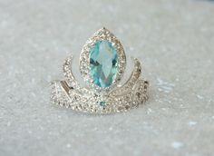 Elsa Frozen Tiara Princess Ring Anna Frozen Crown Crystals Aquamarine by AOSDESIGN on Etsy https://www.etsy.com/listing/220920720/elsa-frozen-tiara-princess-ring-anna
