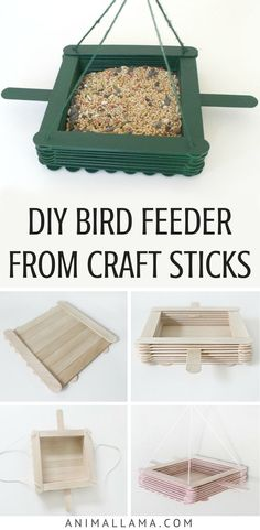 Attract birds to your yard or garden with this simple DIY bird feeder made of craft sticks. You don't have to spend extra money, you can make cheap bird feeder at home with a few basic supplies and a little bit of time! Learn how to make a homemade Bird Feeders For Kids To Make, Make A Bird Feeder, Bird Feeder Craft, Homemade Bird Feeders, Bird House Feeder, Diy Bird Cage, Craft Stick Crafts, Craft Sticks, Diy Crafts