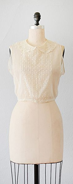 vintage 1920s blouse   net embroidered 20s top