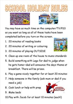 School holiday rules for children