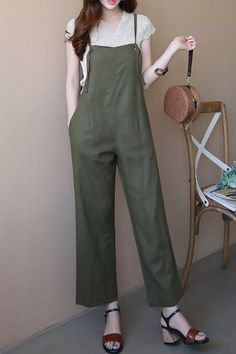 Basic Striaght Fit Linen Jumpsuit