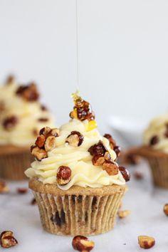 Honey Toasted Hazelnut Chocolate Chunk Cupcakes with Boozy Honey Buttercream Frosting