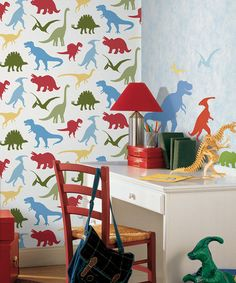 Red Dinosaur Toss - Toothy - Boy's Rock Wallpaper by Chesapeake