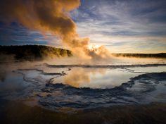 Great Fountain Geyser, Yellowstone National Park  Photograph by Michael Melford, National Geographic (via National Geographic on Twitter)