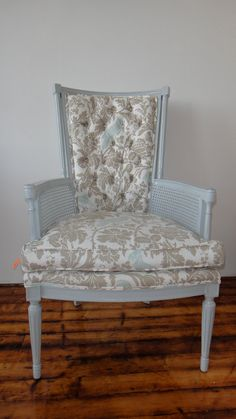 Vintage Chair Gray with Bird Print $350.00