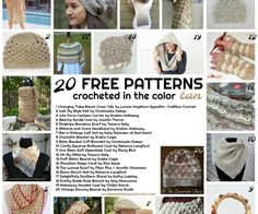20 free patterns crocheted in the color tan