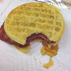 My ingenious breakfast sandwich.. Turkey bacon in between Eggo waffles lightly buttered with Ms. Butterworths syrup :) Mmmmm