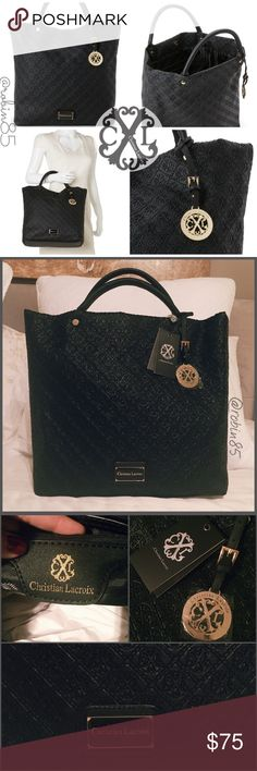 Christian Lacroix Black Lourmain Embossed Tote CXL by Christian Lacroix-Black Lourmain Embossed Tote  Designer logo embossed faux leather exterior  Gold tone hardware Top snap closure  Rolled handles  Removable logo charm Designer nameplate @ lower front Interior: Lined, zip closure/compartments  Dust bag included  ⚠️FLAWLESS CONDITION•PAPER STILL INSIDE W/TAGS ATTACHED-PICTURES ARE BEST DESCRIPTION⚠️ Christian Lacroix Bags Totes