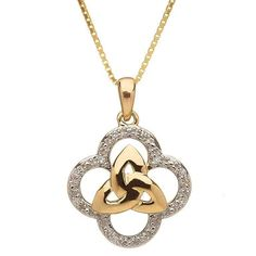 Hand Crafted Celtic 10K Gold Necklace Features Two Distinct Christian Symbols The Trinity Knot And The Quatrefoil.......