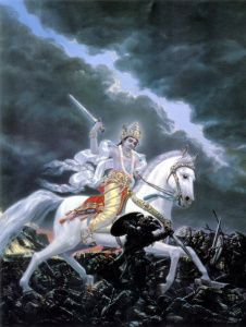 In Hindu mythology, Kalki is the final incarnation of Vishnu, foretold to appear at the end of Kali Yuga, our current epoch. The Puranas foretell that he will be atop a white horse with a drawn bla… Arte Krishna, Krishna Leela, Krishna Radha, Lord Krishna, Shiva, Hanuman, Durga, Lord Ganesha, Satya Yuga