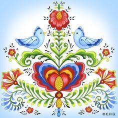 Tile Magnet: Rosemaling & Lovebirds