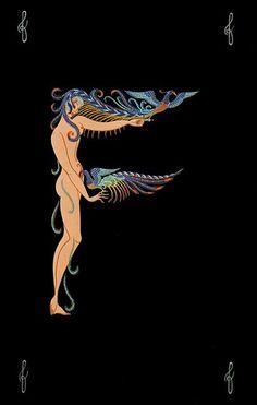 Art deco Alphabet letter 'F' Art And Illustration, Vintage Illustrations, Vintage Posters, Vintage Art, Arte Art Deco, Art Nouveau, Erte Art, Romain De Tirtoff, Art Deco Design