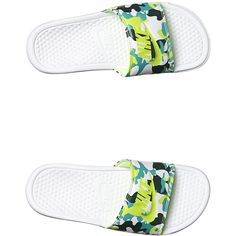 Nike Benassi Jdi Print Womens Slide ($24) ❤ liked on Polyvore featuring shoes, sandals, white green teal, nike footwear, teal shoes, nike, patterned shoes and teal green shoes