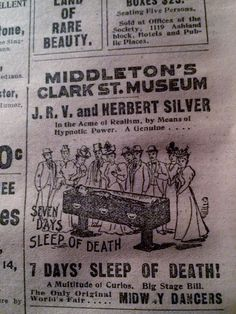 NOV 13, 1898 NEWSPAPER PG #1704- SEVEN DAYS, SLEEP OF DEATH, SIDESHOW ATTRACTION
