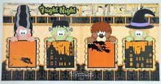 2 Premade Scrapbook Pages 12x12 Layout Paper Piecing Girl Boy Baby Halloween Monsters Handmade Elite4U