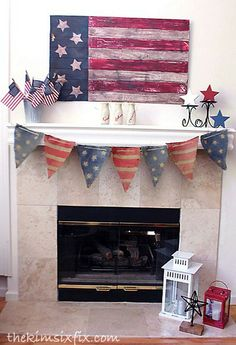 Patriotic Mantle.. Stars, Flags, Burlap Banner and beadboard painted flag.
