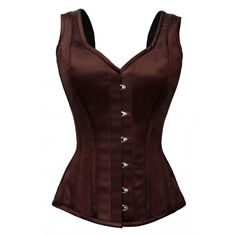 GC-1022 - Brown Satin Style Corset with Shoulder Straps-PROMOTIONAL