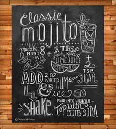 Mojito Recipe Chalkboard Art Print