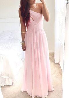 legant One-shoulder Long Pink Chiffon Cheap Bridesmaid Dress