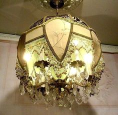 Antique Vintage Victorian Shaded Bronze Chandelier Ceiling Light