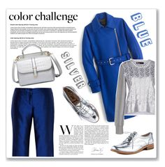"""""""Blue and silver"""" by ruza-b-s ❤ liked on Polyvore featuring J.Crew, Love Moschino, Sam Edelman, Kalmanovich and blueandsilver"""