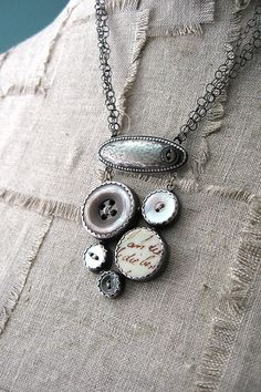 sterling found object cluster necklace