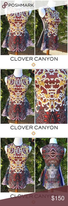 """Clover Canyon (XS) Peplum """"Kosack Paisley"""" Clover Canyon (XS) Peplum Top. Great blouse with fun, intricate design. Like new condition. Neoprene style; holds shape very well, feels like shapewear! Hugs in all the right places. High neckline Clover Canyon Tops Blouses"""