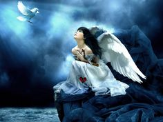 Angel Fantasy Black And White | Angel Wings Background - Angel Wings Wallpaper for Desktop