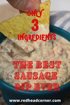 This is the Best Sausage Dip Ever and it is so easy to make with only 3 ingredients. It comes together quickly with breakfast sausage, cream cheese and rotel for a creamy delicious dip. Sausage Dip, Best Sausage, Sausage Breakfast, Ground Beef Recipes Easy, Fun Easy Recipes, Quick Easy Meals, Dip Recipes, Best Dip Ever, Jimmy Dean Sausage
