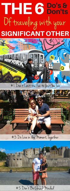 Read before traveling with your boyfriend or girlfriend! Here are the 6 Do's and Don'ts of Traveling with Your Significant Other. Learn how socializing with others will make your travels better. Let's not forget about the romance and more. Read my proven tips that I've learned over the years of traveling with my significant other.   Couple Travel