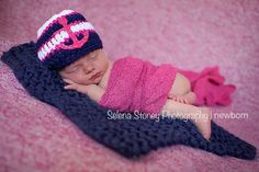 I LOVE this hat!! Sooo cute! Crochet Nautical Baby Girl hat with ANCHOR by ThePoseyPatchProps