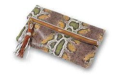 Loving this faux snake clutch from Clava - and so affordable!