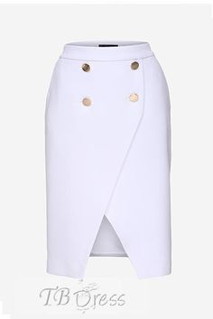 Metallic Button Asymmetric Hem Sheath Skirt