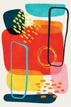 Ferra Framed Art Print by Tracie Andrews - Conservation Pecan - Art Prints, Framed Art, Abstract Art Painting, Art Painting, Abstract Shapes, Canvas Prints, Retro, Canvas Art, Framed Art Prints