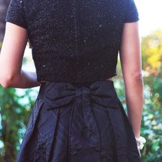 It's all in the details  l black sequin party bow back dress with white pearls and black ribbon bow detail l