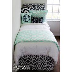 Mint & Navy Nautical Designer Bed In A Bag Set