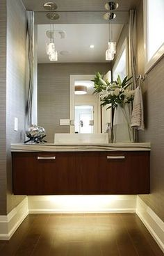 Wall mounted vanity with under lighting provides easy access for a wheelchair, however I will only use the lighting underneath the vanity and not the whole vanity.