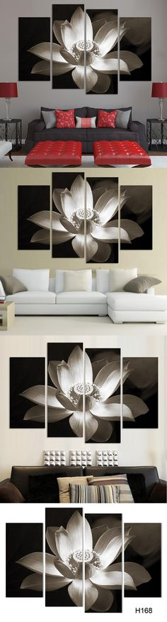 4panel Modern wall art home decoration printed flower oil painting canvas prints frameless black and white simple lotus flower $36.3