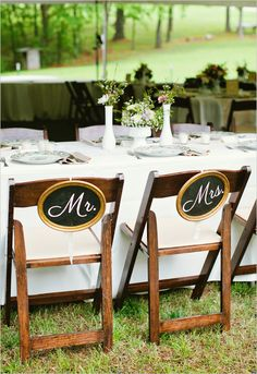 outdoor wedding decor ~ outdoor reception seating ~ I love the Mr. frames on the chairs - so sweet. Might be fun for a big anniversary celebration too. Vintage Outdoor Weddings, Outdoor Wedding Decorations, Romantic Weddings, Rustic Wedding, Mr Mrs, Cute Wedding Ideas, Wedding Inspiration, Reception Seating, Reception Ideas