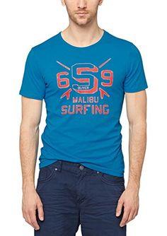 s.Oliver Herren T-Shirt Single Jersey 13.506.32.2475, mit Print, Gr. XX-Large, Türkis (turquoise 6277)