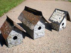 tin ceiling tile birdhouses