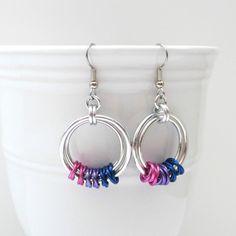 Pink purple & blue chainmail earrings bi by TattooedAndChained, $15.00