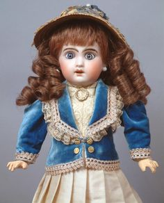 """14"""" Jumeau 1907 Size 4 Bebe with Original Blue Paperweight from kathylibratysantiques on Ruby Lane"""