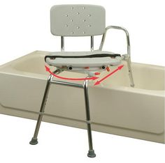 Snap-N-Save Sliding Transfer Bench 37662 w Swivel Seat Bath Safety Shower Chair Handicap Accessories, Wheelchair Accessories, Mobiles, Handicap Accessible Home, Handicap Bathroom, Disabled Bathroom, Bathroom Safety, Shower Chair, Arquitetura