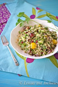 Quinoa Salad with Grapes, Pomegranates and Herbs
