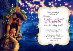 Rapunzel Tangled Birthday Invitation